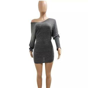 Long Sleeve side shoulder mini dress